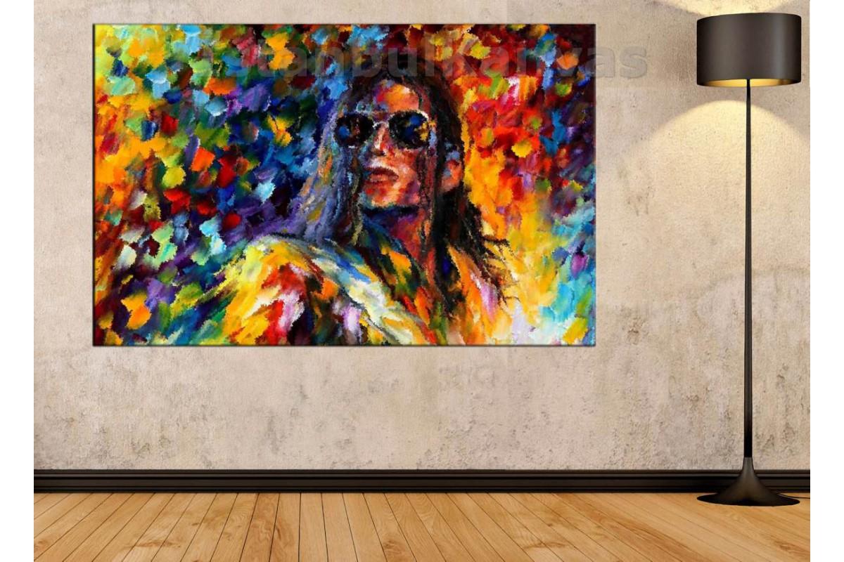 Srks2 - Michael Jackson Soyut Resim Yağlı Boya Görünümlü Kanvas Tablo