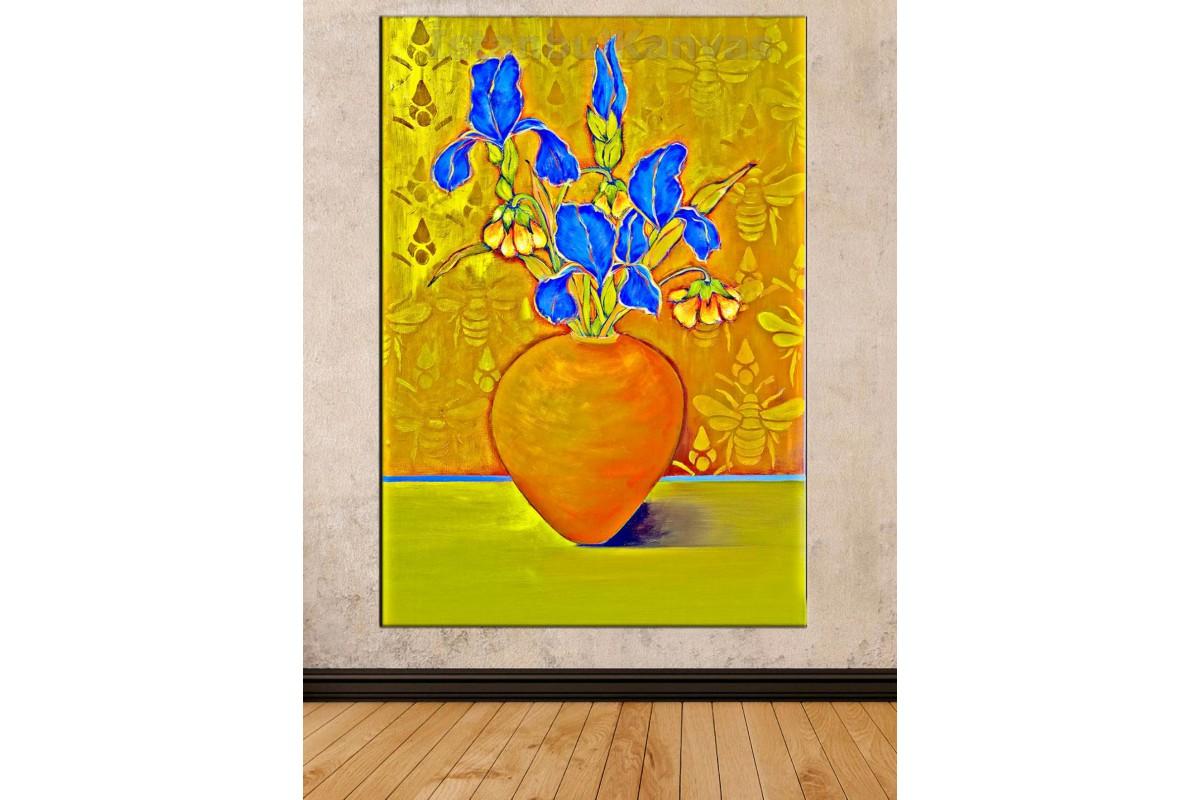 Srks26 - Mavi Çiçekler Ve Vazo Dekoratif Soyut Kanvas Tablo