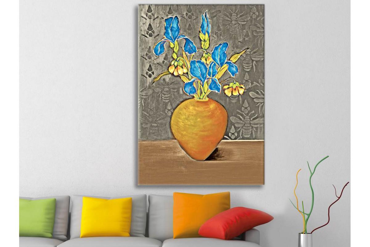 srks26b - Mavi Çiçekler ve Vazo Yağlı Boya Görünümlü Kanvas Tablo