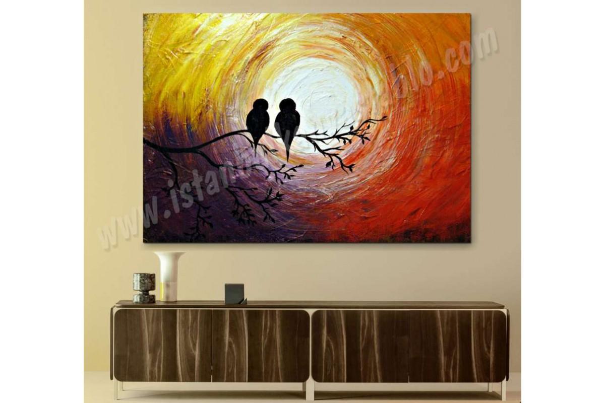 srks28 - Yağlıboya Görünümlü Daldaki Kuşlar Kanvas Tablo