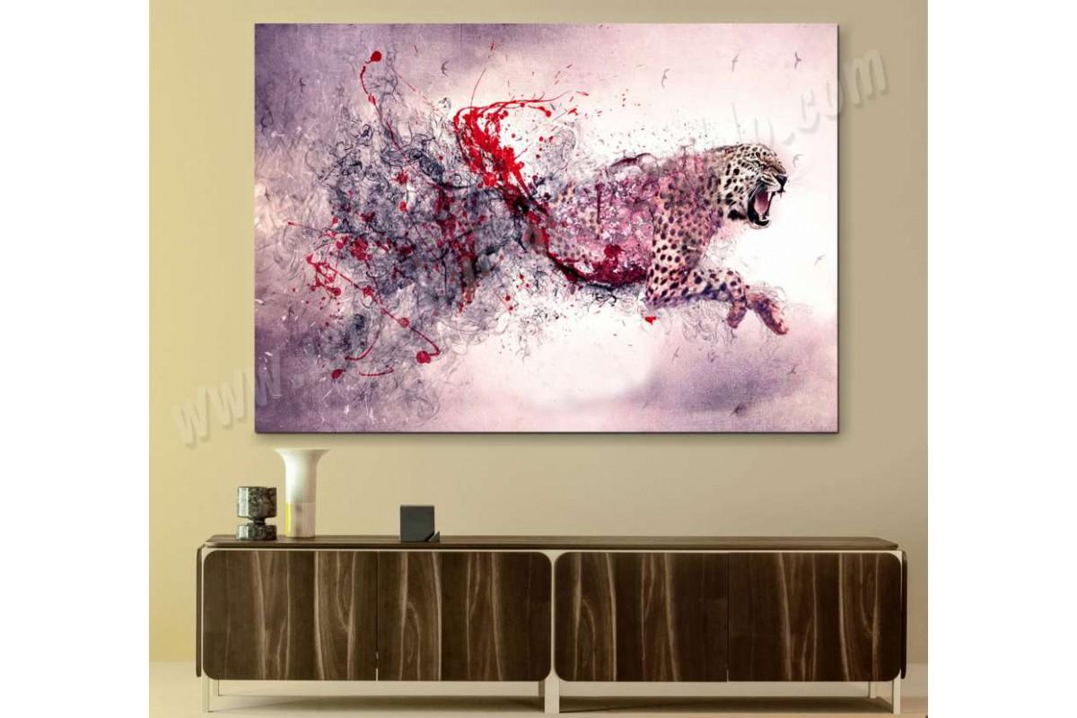 srks29 - Yağlı Boya Görünümlü Soyut Koşan Çita kanvas duvar tabloları