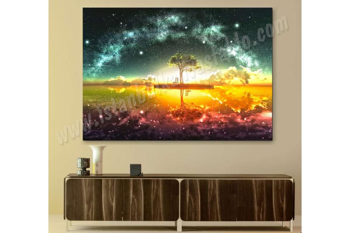 srks30 - Soyut Ağaç ve Yıldızlar dekoratif kanvas tablo