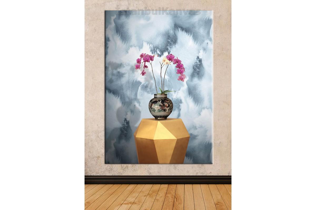 Srks32 - Orkideler Ve Vazo - Dekoratif Soyut Kanvas Tablo