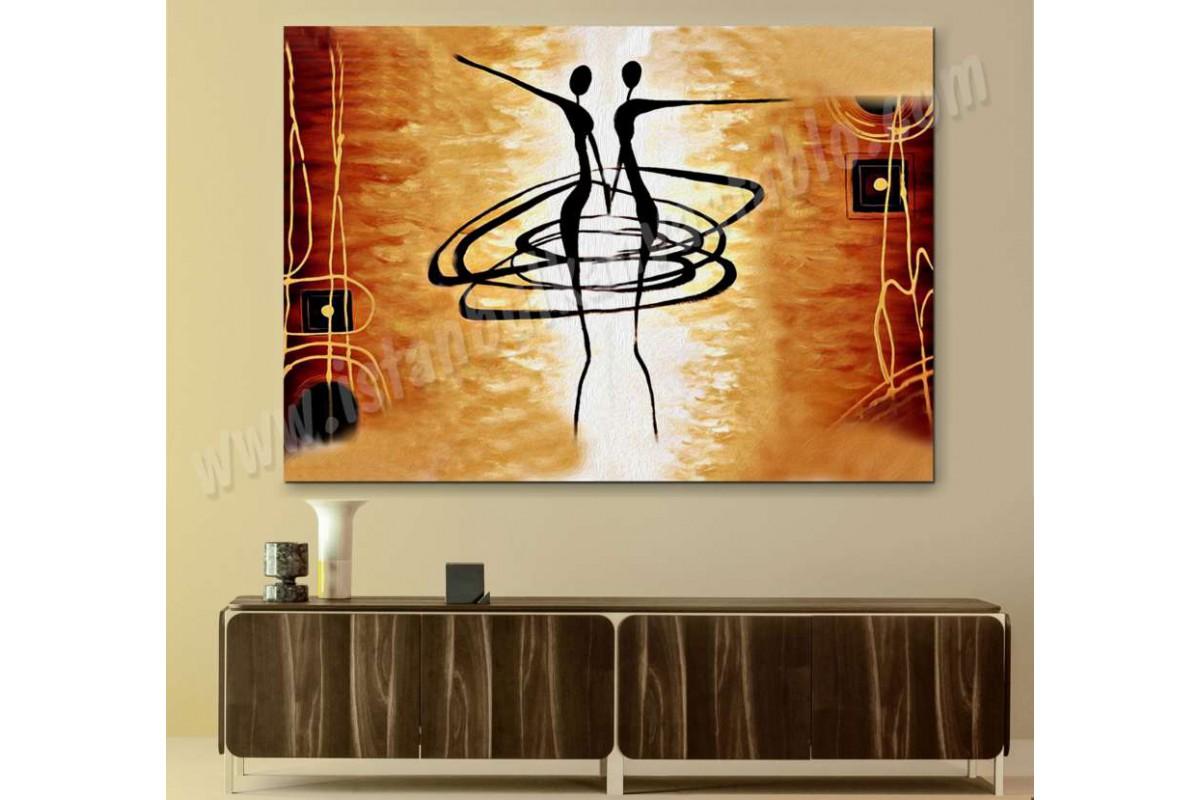 srks34 - Dekoratif Dans Eden Balerin Sevgililer Yağlı Boya Görünümlü Soyut Kanvas Tablo