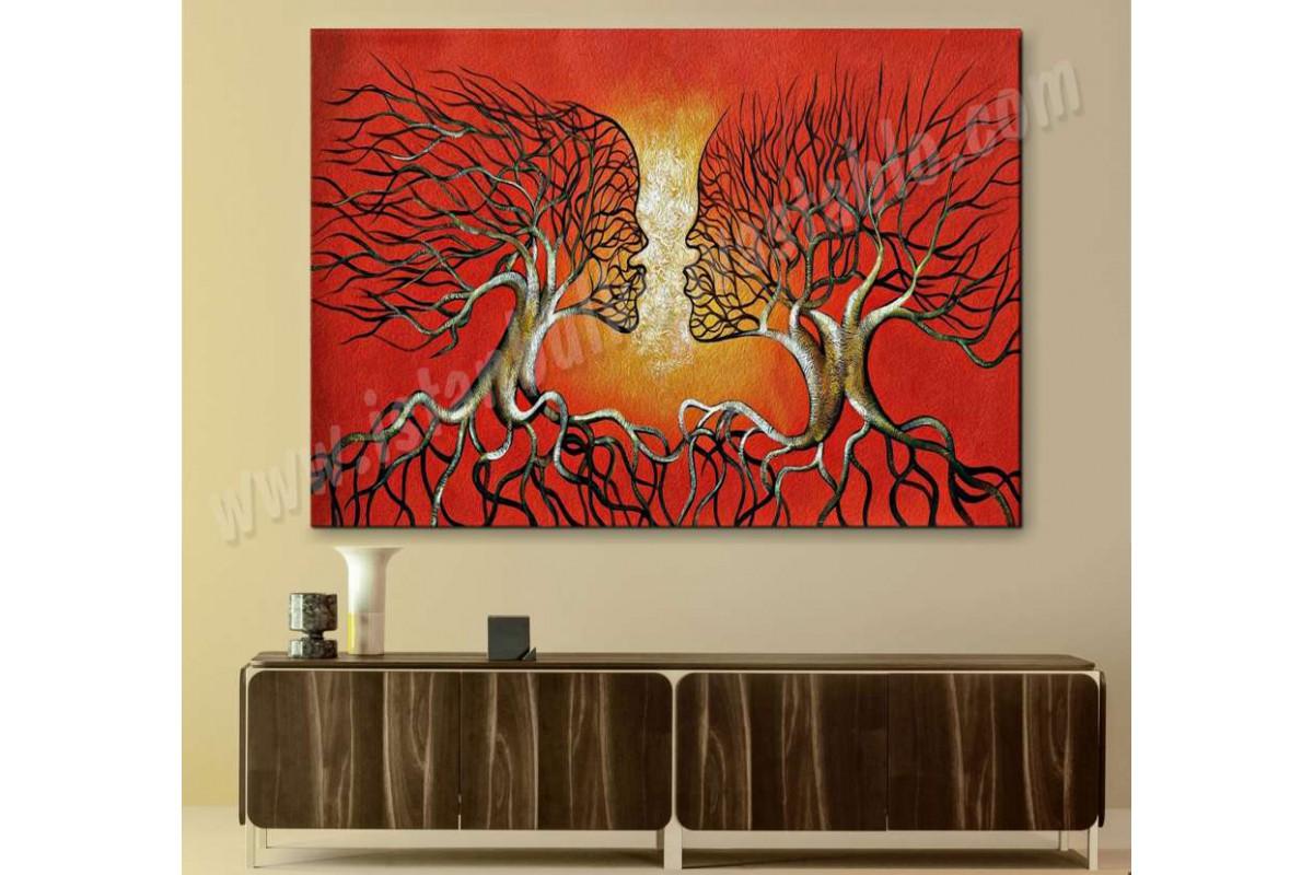srks36 - Yağlı Boya Görünümlü Dekoratif Öpüşen Ağaç Sevgililer Soyut Kanvas Tablo