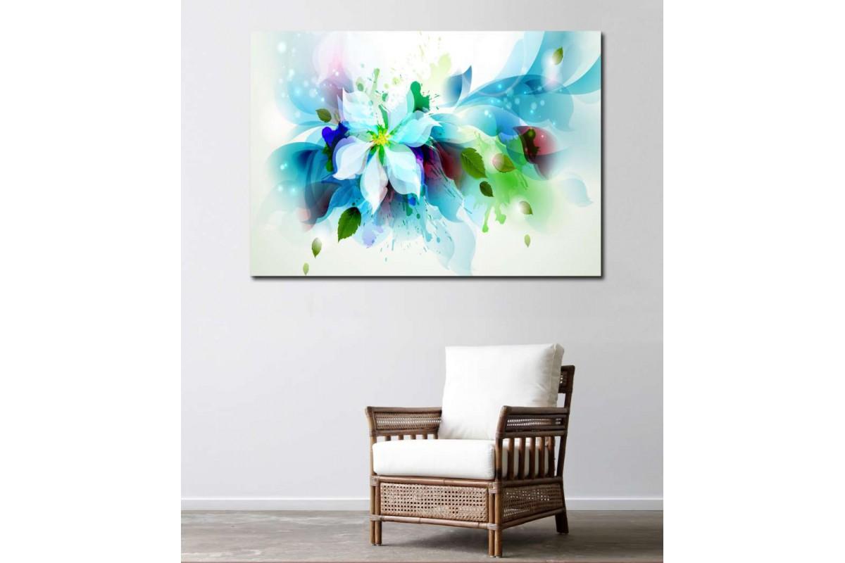 srks4 - Rengarenk Çiçekler Soyut Resim kanvas tablo