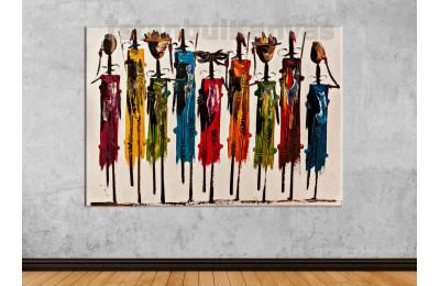 Srks43 - Yağlı Boya Görünümlü Afrikalı Kadınlar Soyut Kanvas Tablo