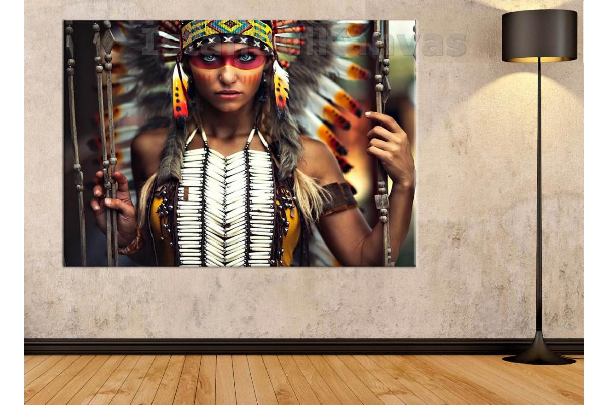 Srks44 - Güzel Gözlü Kızılderili Kıyafetli Kız - Dekoratif Kanvas Duvar Tablosu