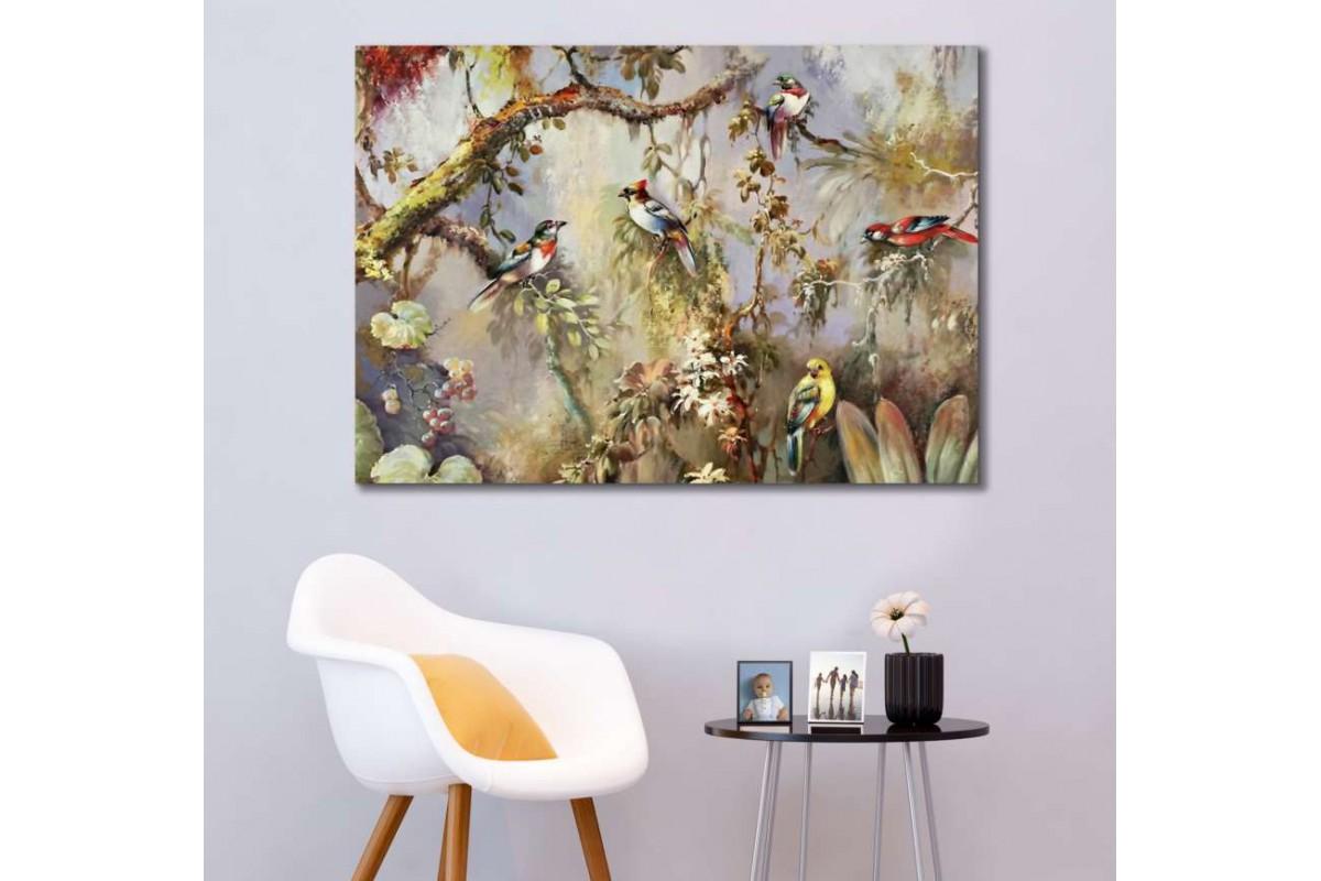 srks45 - Yağlı Boya Görünümlü Daldaki Rengarenk Kuşlar - Dekoratif Kanvas Duvar Tabloları