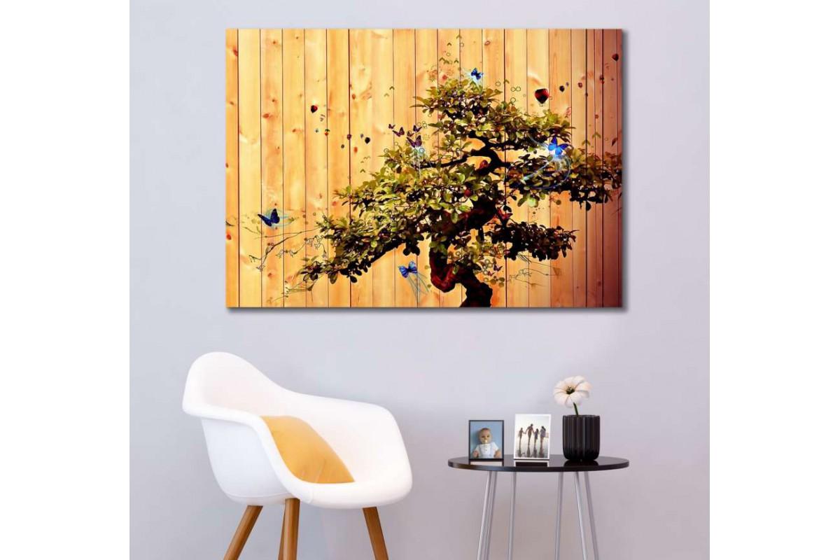 srks47 - Soyut Bonsai Ağacı ve Kelebekler - Dekoratif Kanvas Duvar Tabloları