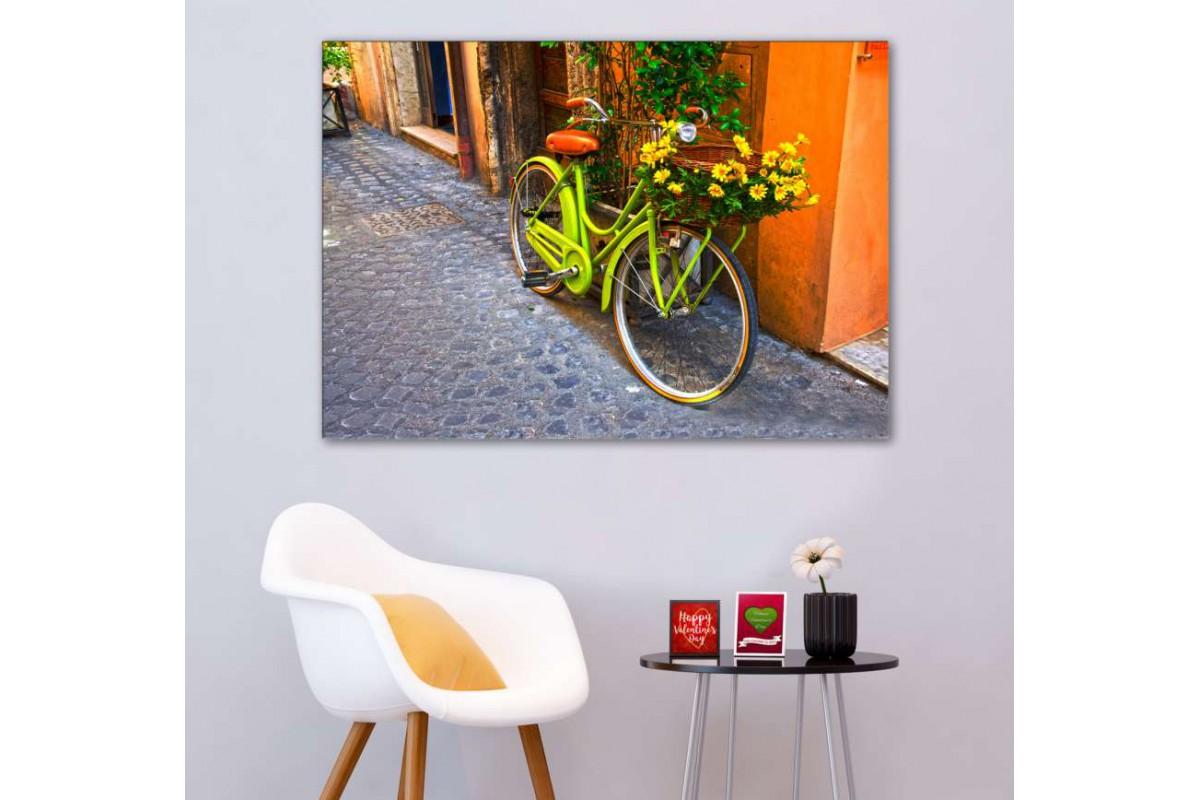 srks52 - Yeşil Bisiklet ve Sarı Papatyalar dekoratif kanvas tablo
