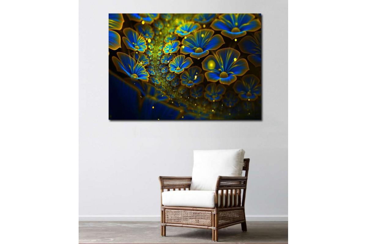 srks7 - Soyut Sarı Lacivert Çiçekler  kanvas tablo