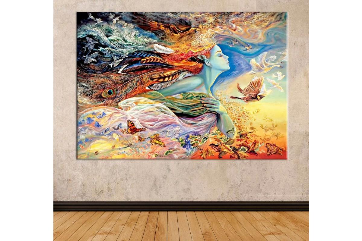 Srks72 - Soyut Ve Sürrealist Kuşlar, Kelebekler Ve Kadın Kanvas Tablo