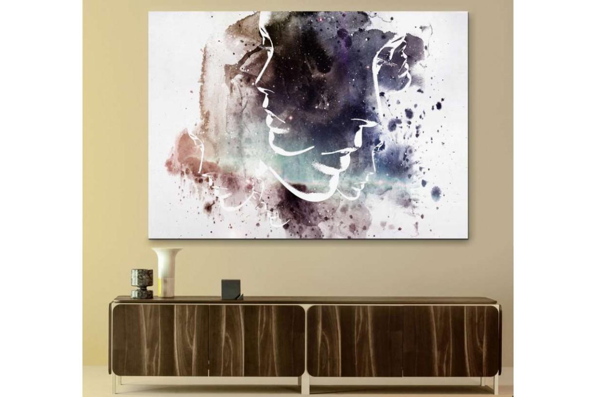 srks9 - Soyut Resim, Kadın Suratları Temalı Kanvas Tablo