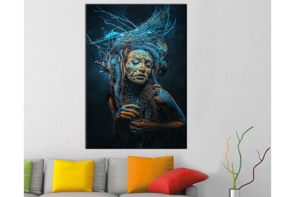 srks94 - Yağlı Boya Görünümlü Mavi Boyalı Kadın Dekoratif Kanvas Duvar Tablosu