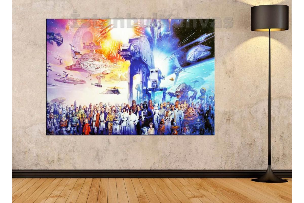 Srksw04 - Star Wars (Yıldız Savaşları) Evreni Tüm Karakterler Özel Çizim Kanvas Tablo