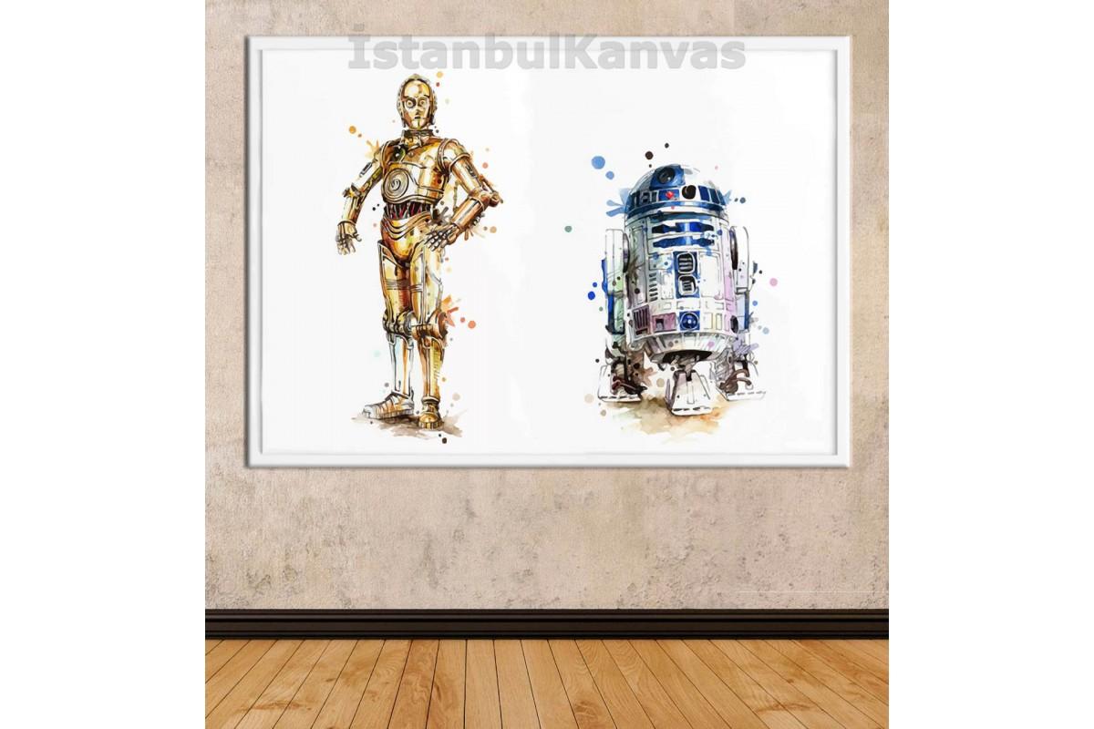 Srksw05 - Star Wars (Yıldız Savaşları) Droidler, R2d2 Ve C3po Akrilik Görünüm Kanvas Tablo