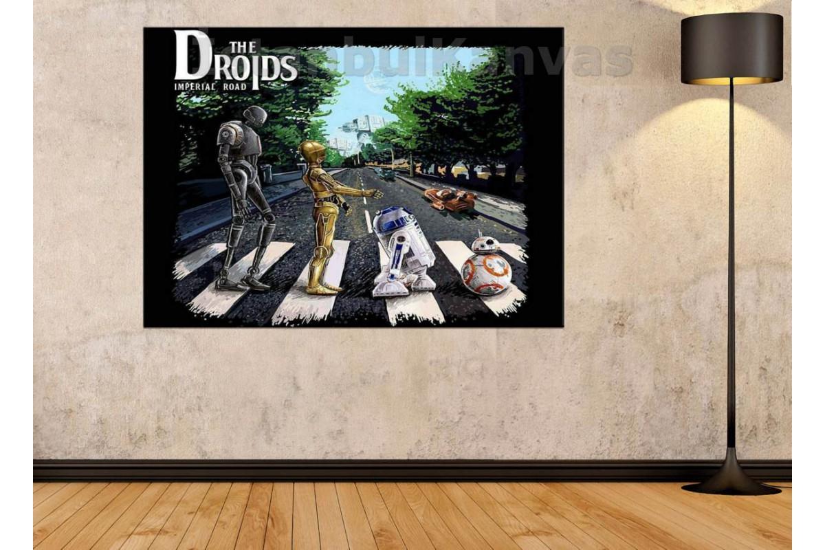 Srksw11-Star Wars (Yıldız Savaşları) Yağlı Boya Görünüm Droidler Tablosu(Beatles Abbey Road)
