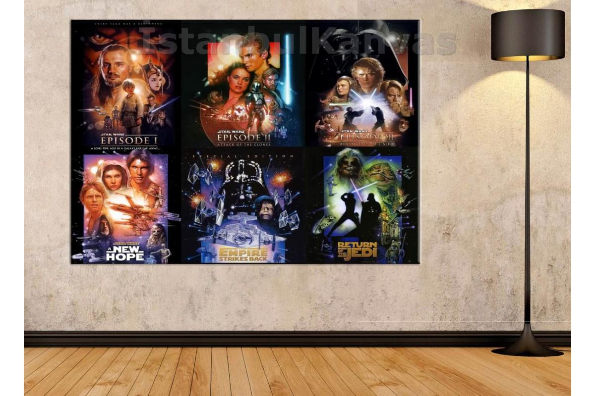 Srksw7 - Star Wars (Yıldız Savaşları) 6 Film Posteri Bir Arada Özel Tasarım Kanvas Tablo