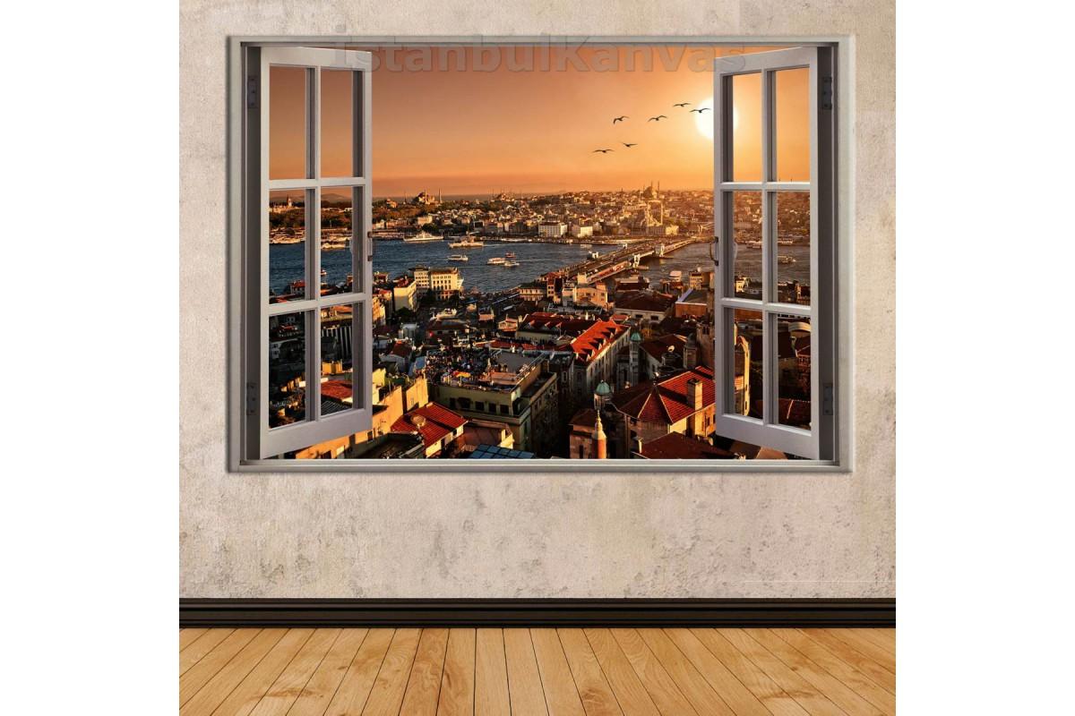 Srkw02 - Açılan Pencereden Galata Köprüsü Günbatımı Manzaralı Kanvas Tablo