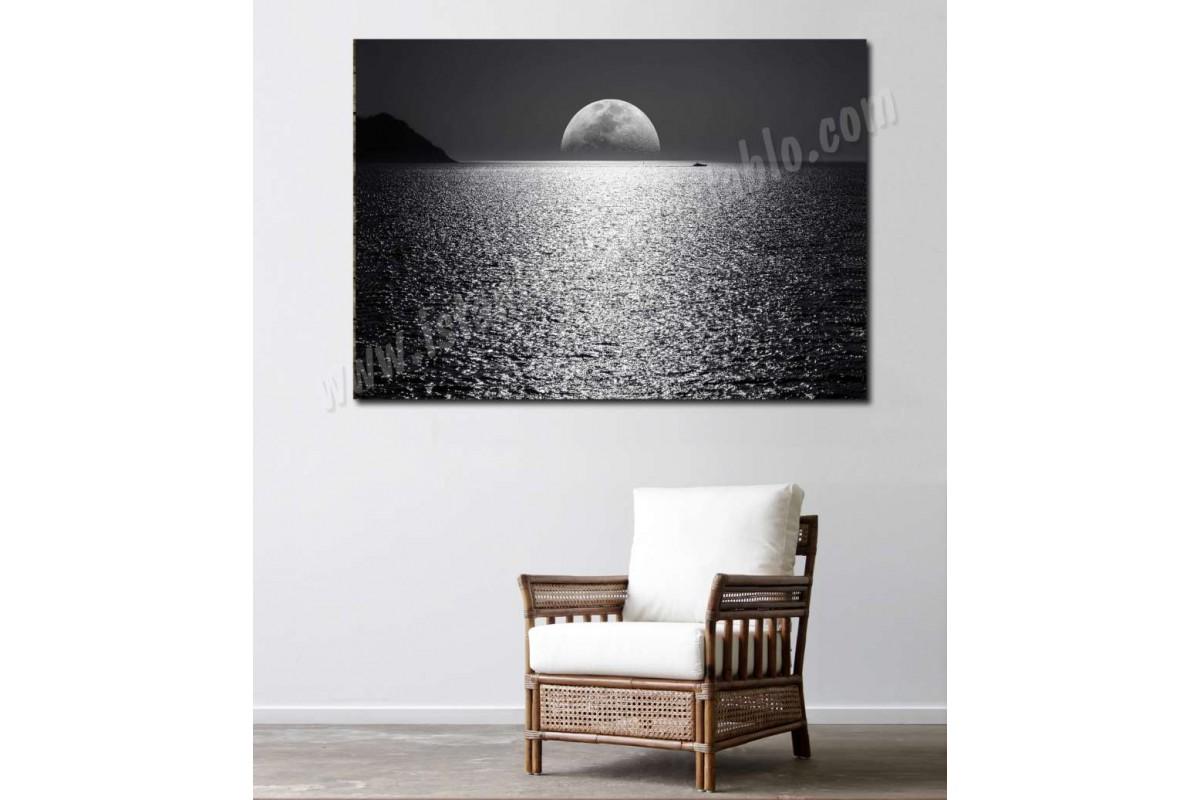 srky1 - Gece, Deniz ve Ay ışığı, Yakamoz Manzaralı Kanvas Duvar Tablosu