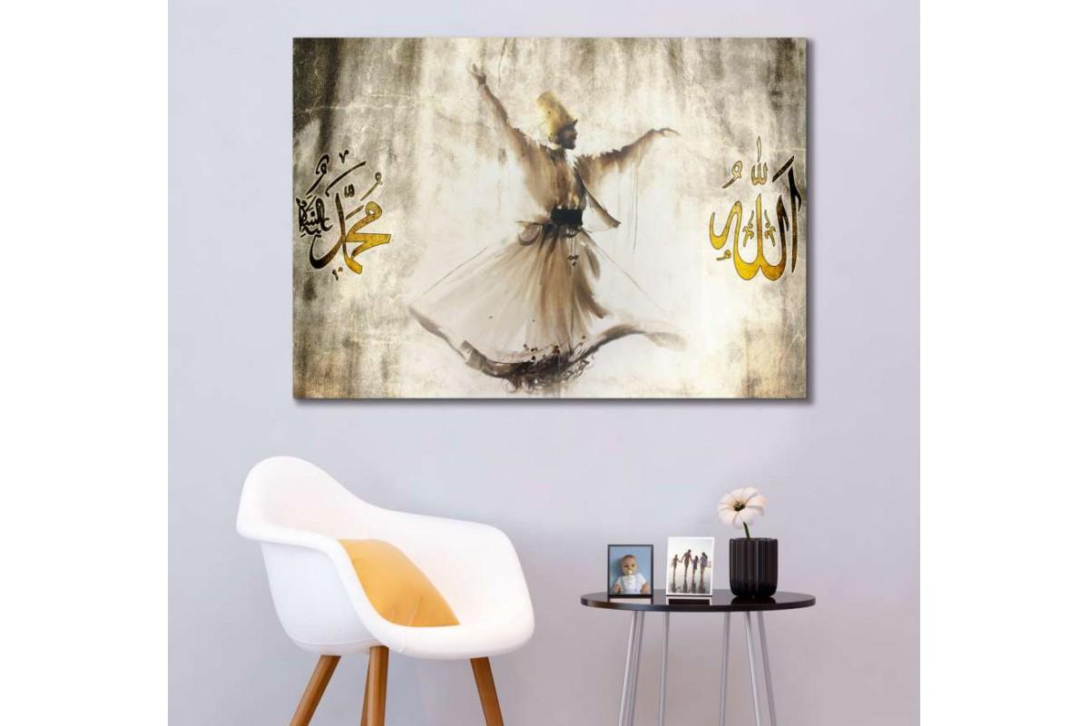 srm14 - Semazen, Sufi, Mevlevi, hiçlik, Allah Muhammed lafzı özel tasarım kanvas tablo