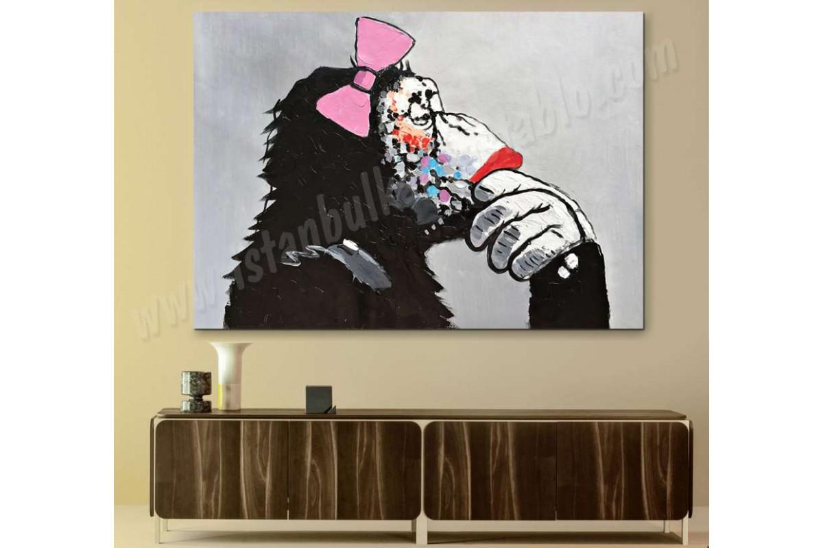 srmk2 - Düşünen Dişi Maymun Kanvas Tablo