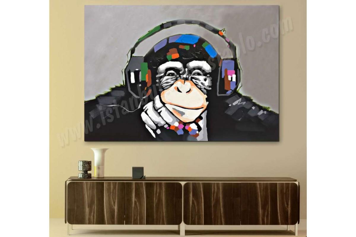 srmk3 - Müzik Dinleyen Düşünceli Maymun Soyut Kanvas Tablo