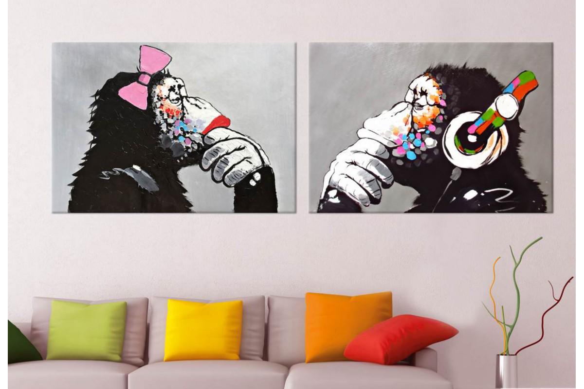 srmk5 - Müzik Dinleyen Maymunlar Dekoratif Soyut Kanvas Tablo Seti 70x100cm (2 adet 50x70cm)