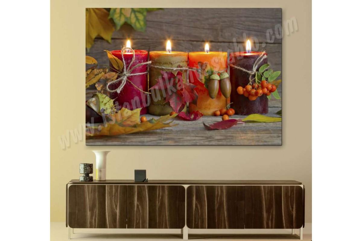 srn3 - Renkli Mumlar ve Dekorlar Natürmort Kanvas Tablo