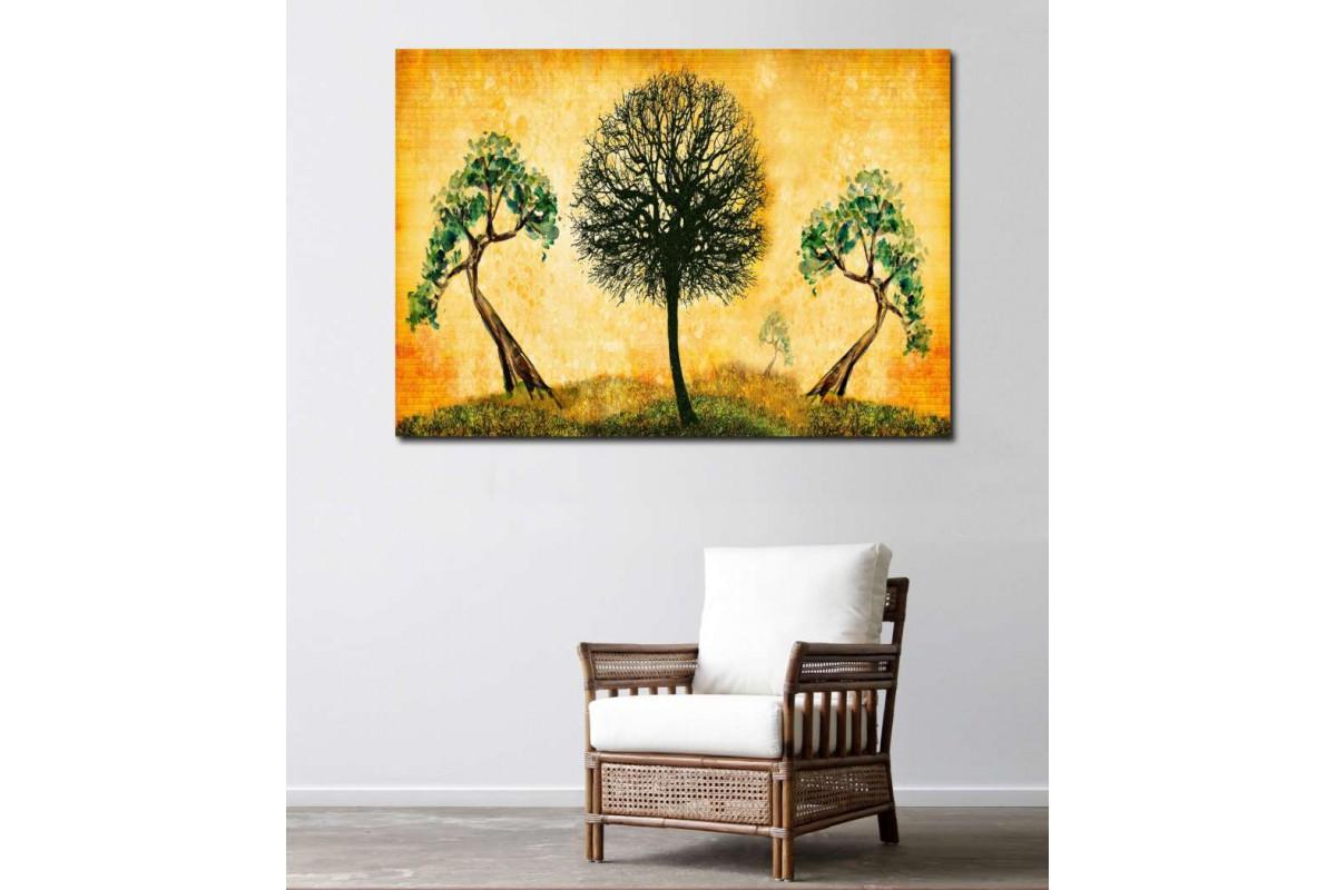 srn5 - Soyut ve Yağlı Boya Görünümlü Ağaçlar Temalı Dekoratif Kanvas Duvar Tabloları