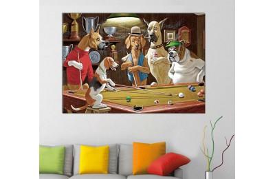 srpd1 - Bilardo Oynayan Köpekler Yağlı Boya Görünümlü Dekoratif Kanvas Tablo