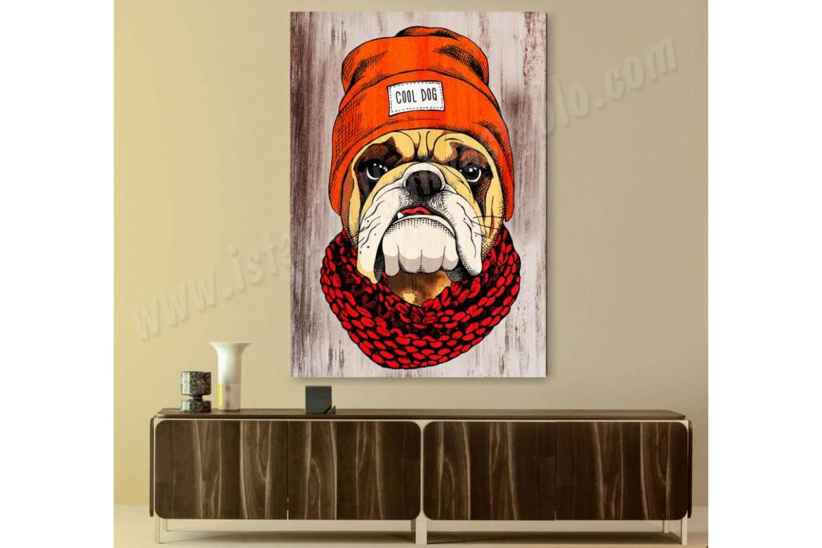 srpk1 - Bereli Bulldog Cool Köpek Kanvas Tablo