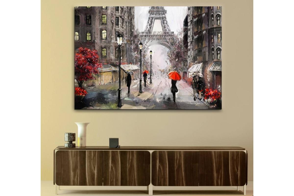 srps3 - Yağlı Boya Görünümlü Paris Sokakları ve Eyfel Kulesi Kanvas Tablo