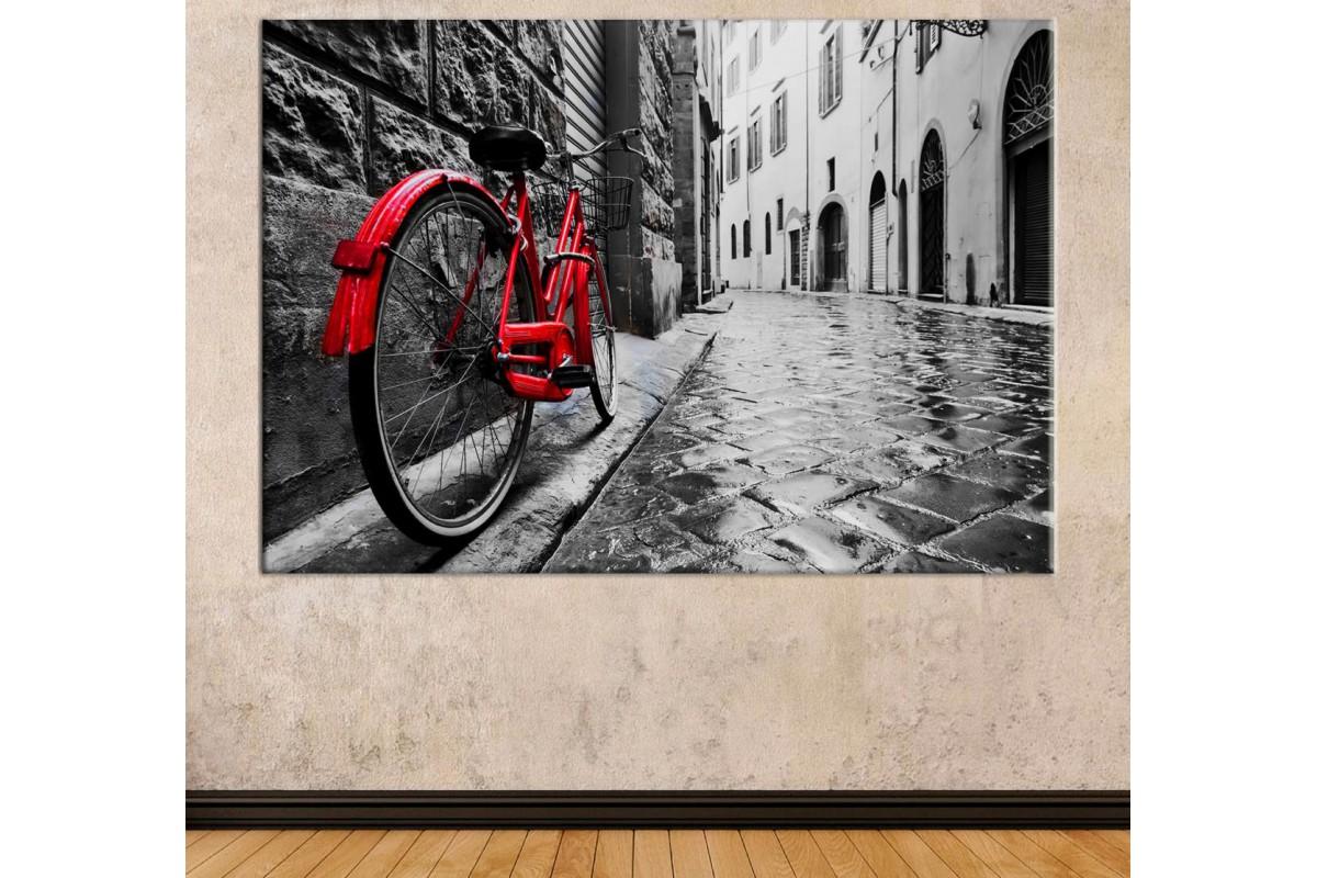 srrb1 - Siyah Beyaz Sokak ve Kırmızı Bisiklet Dekoratif Kanvas Tablo