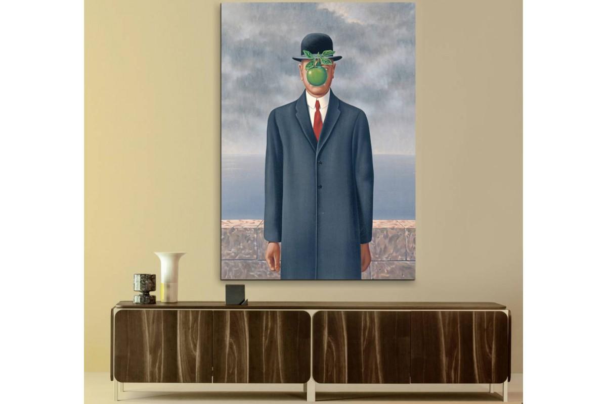 srrm1 - Suratında Elma olan adam, Rene Magritte - The Son of Man Sürrealist Kanvas Tablo