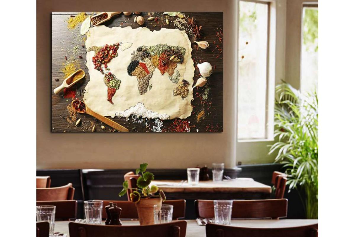 srrs1 - Baharat ve Hamurlarla Dünya Haritası, Cafe, Restoran Kanvas Tablo