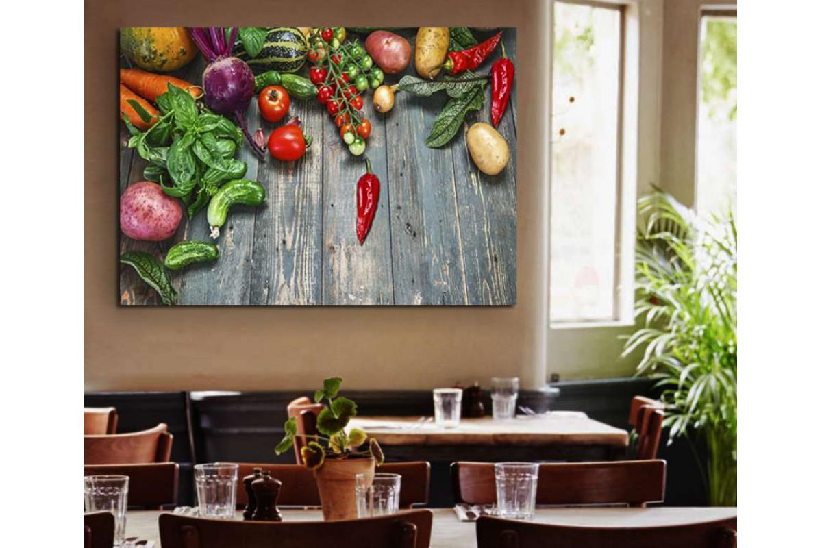 srrs10 - Renk Renk Taze Sebzeler Cafe, Restoran Kanvas Tablo