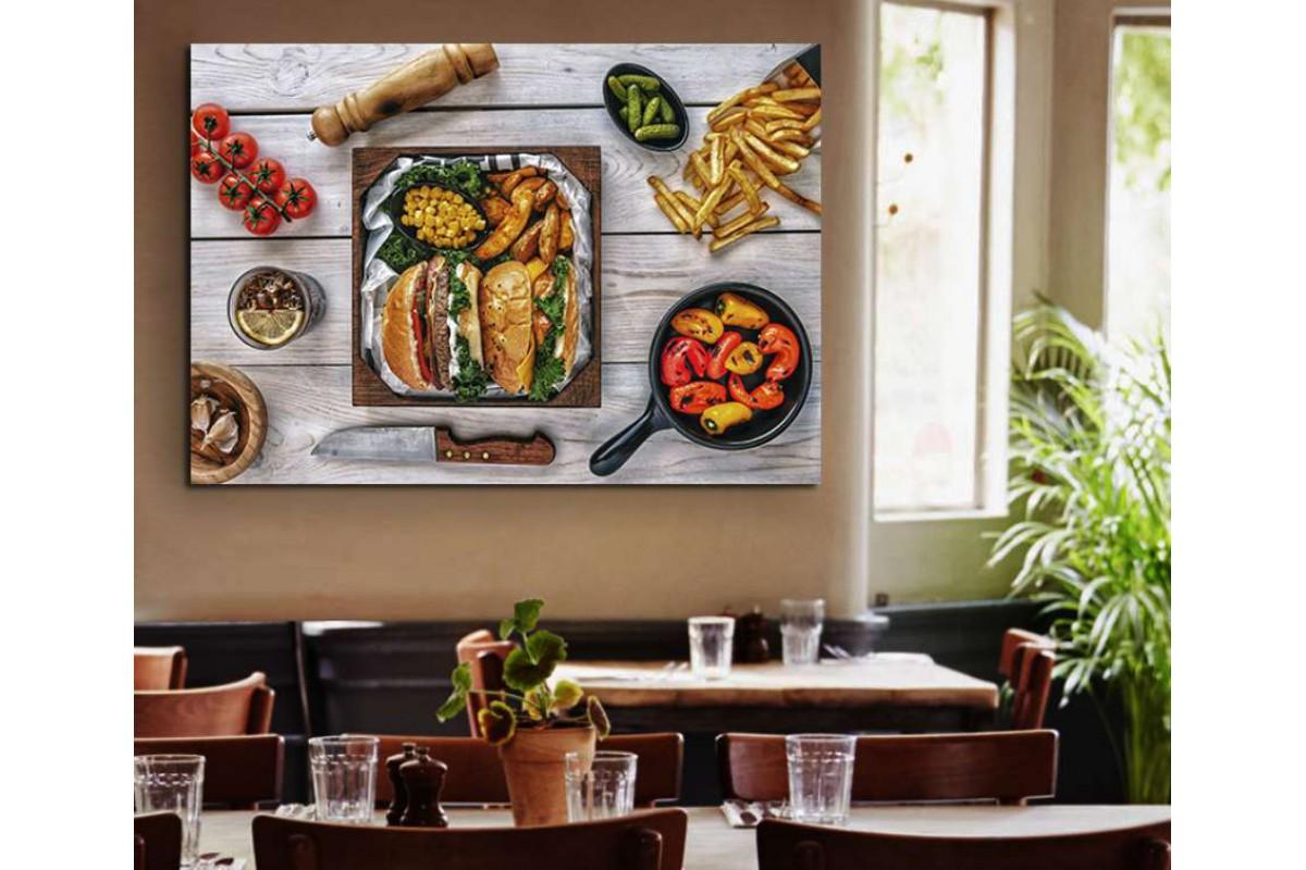 srrs16 - Hamburger ve Patates Kızartması, Cafe Restoran Kanvas Tablo