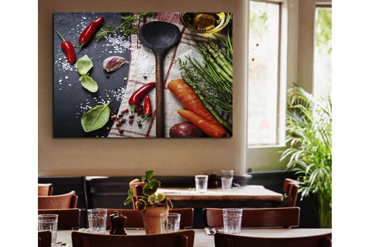 srrs18 - Sebzeler ve Tahta Kaşık, Cafe, restaurant Kanvas Tablo