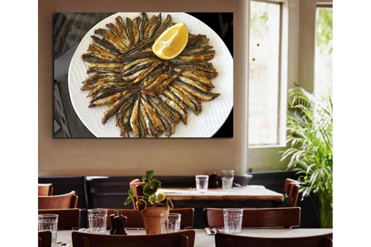 srrs22 - Hamsi Tabağı, Balık Restoranı, Balıkçı Kanvas Tablo