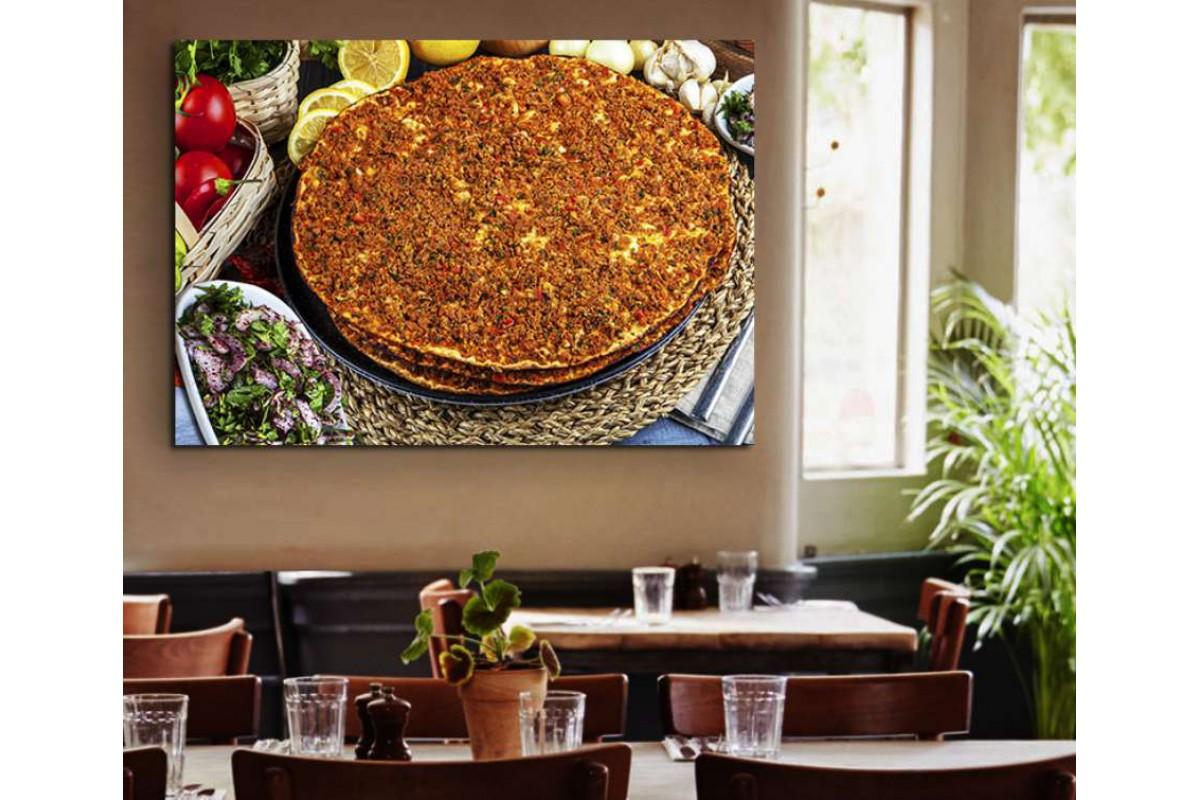 srrs23 - Lahmacun ve Soğan, Kebapçı, Restoran Kanvas Tablo