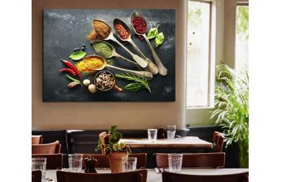 srrs4 - Tahta Kaşıklar ve İştah Açıcı Baharatlar Cafe, Restaurant Kanvas Tablo