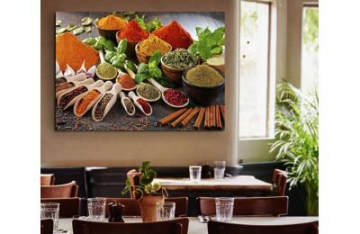 srrs5 - Rengarenk Baharatlar Cafe, Restaurant Mutfak Kanvas Tablo