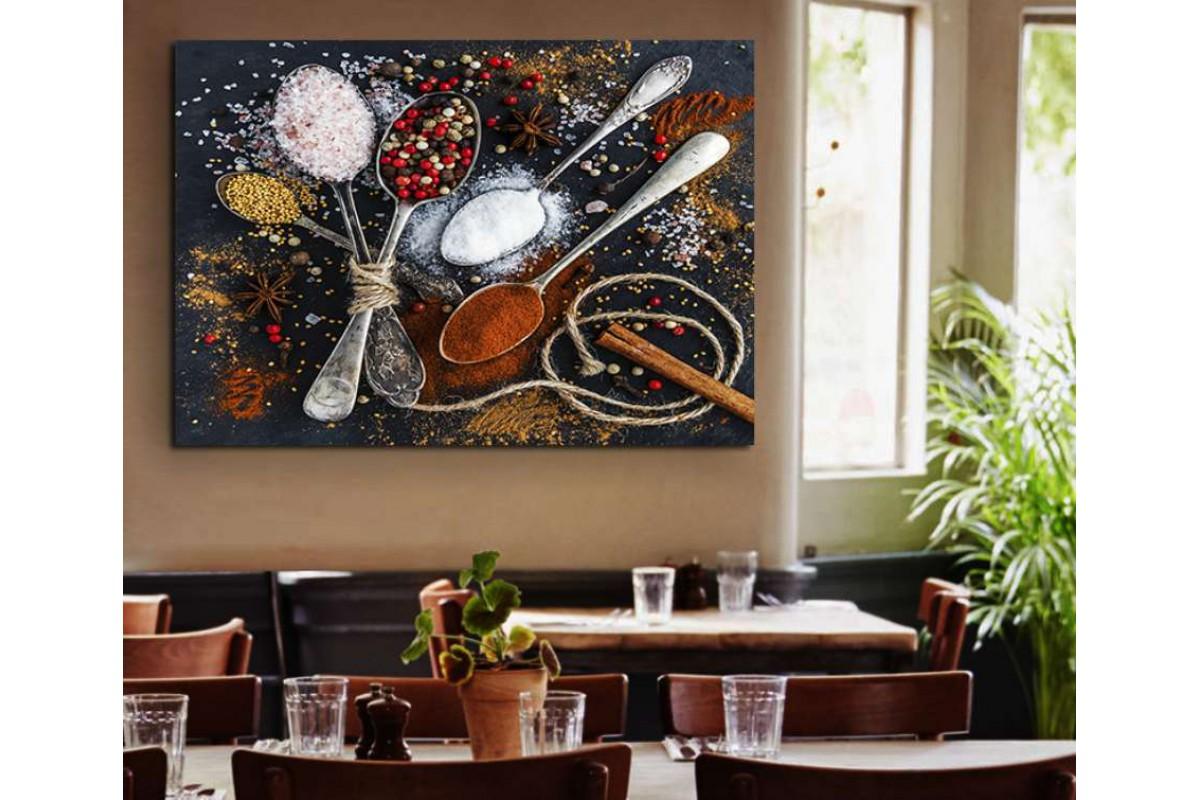 srrs6 - Rengarenk Baharatlar ve Kaşıklar Cafe, Restaurant Mutfak Kanvas Tablo