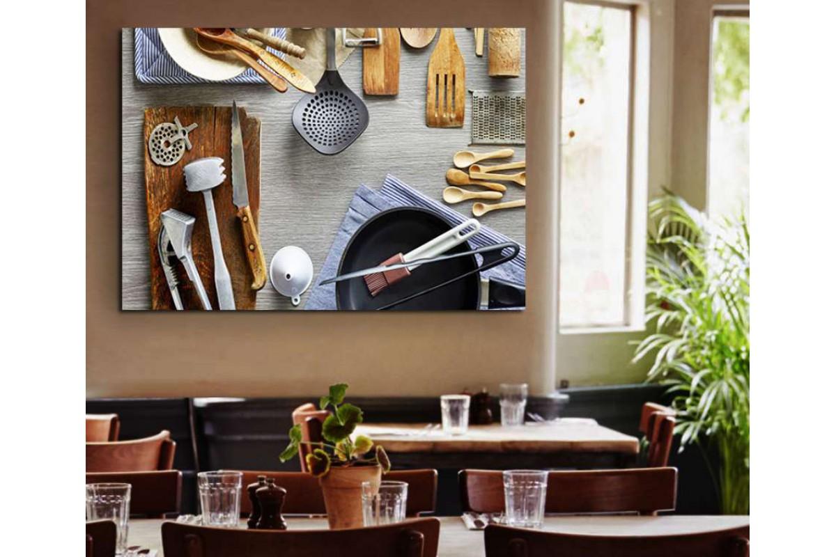 srrs7 - Eski Mutfak Aletleri, Cafe, Restaurant Mutfak Kanvas Tablo
