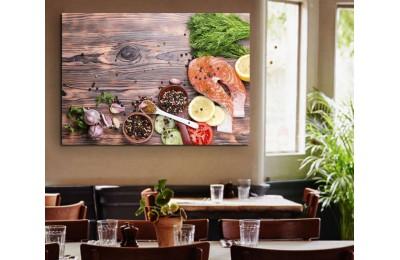 srrs9 - Somon Balığı ve Baharatlar Cafe, Resturant, Balıkçı Kanvas Tablo