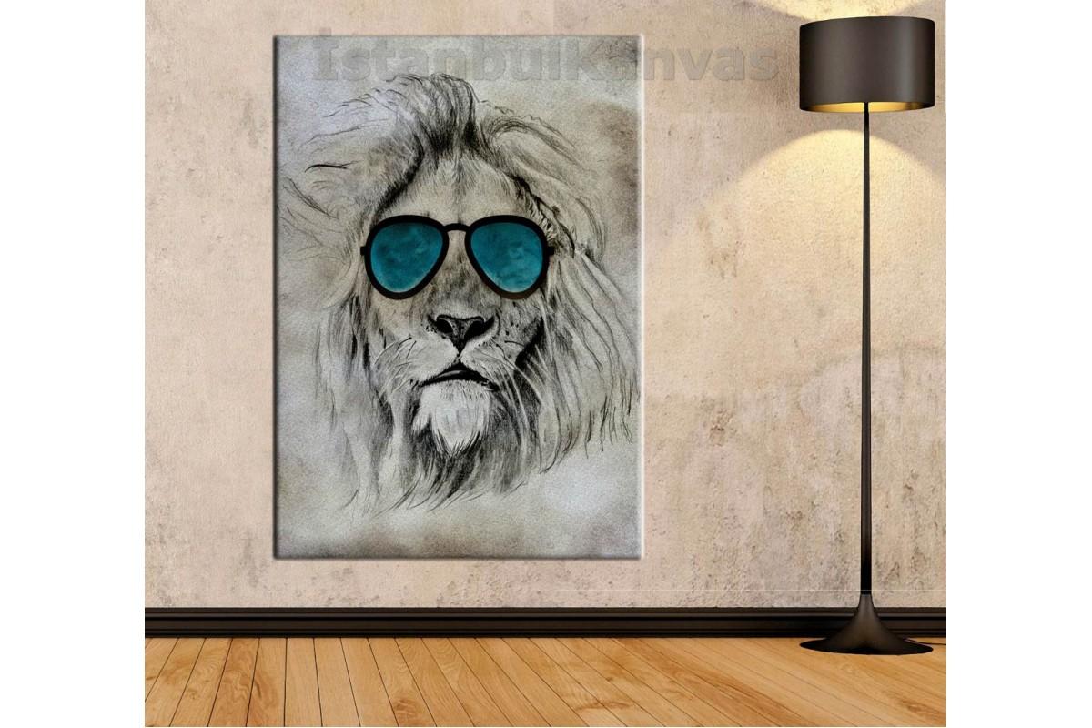 Srs90 - Güneş Gözlüğü Takmış Aslan - Özel Tasarım Soyut Kanvas Tablo