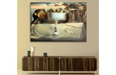 srsd8 - Salvador Dali Plajda Yüz ve Meyve tabağı sürrealist Kanvas Tablo