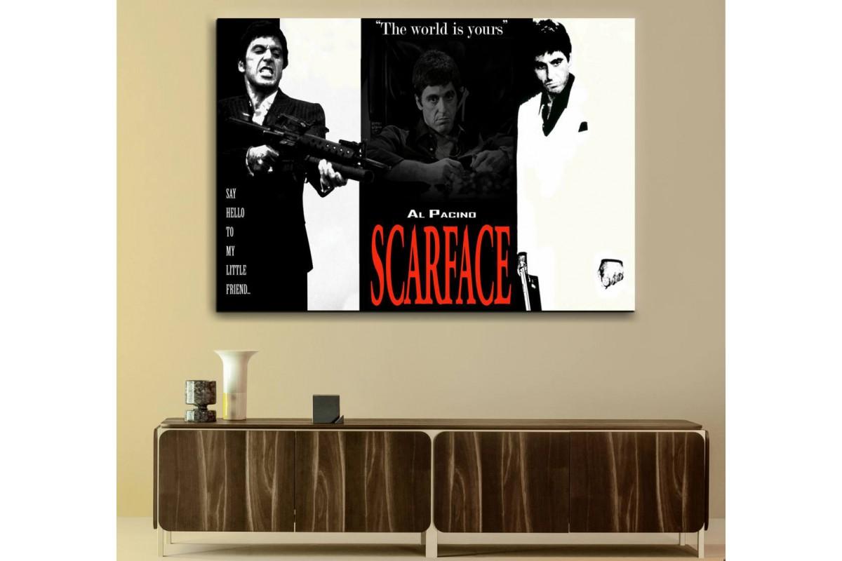 srsf1 - Özel Tasarım, Scarface, Yaralı Yüz, Al Pacino Kült Film Kanvas Tablo